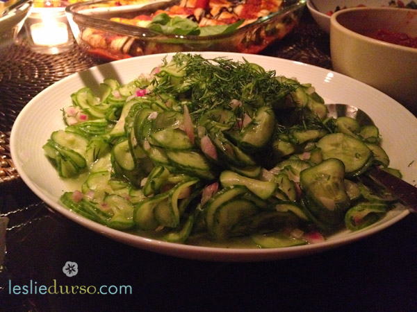 Cucumber Carpaccio with Dill Pickled Onions