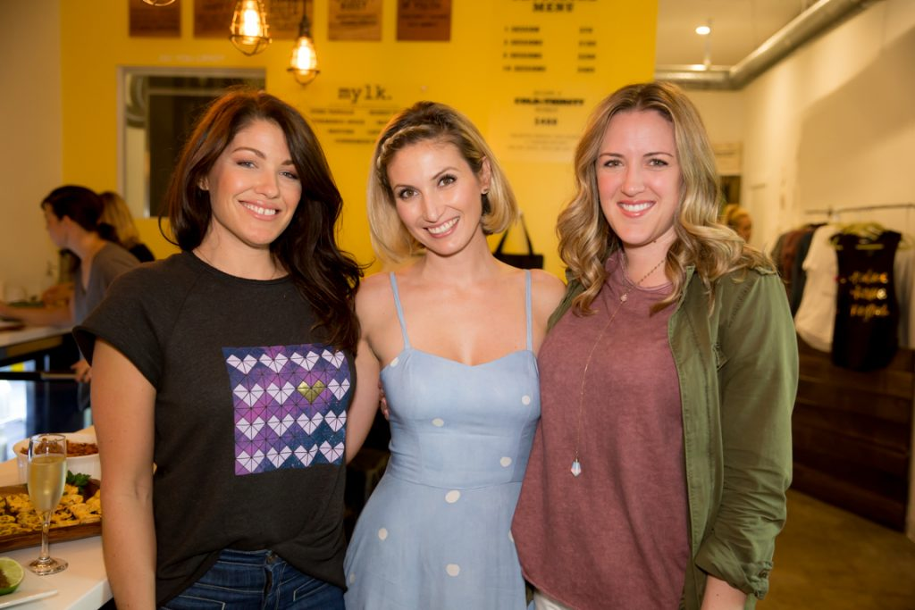 Alana Littler, Leslie Durso and Heather Cereghino at clover cloth ReNew Party