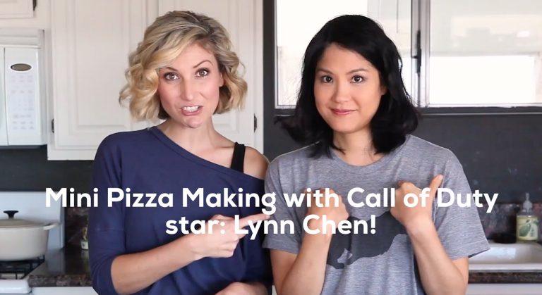 Leslie Durso and Lynn Chen make pizza