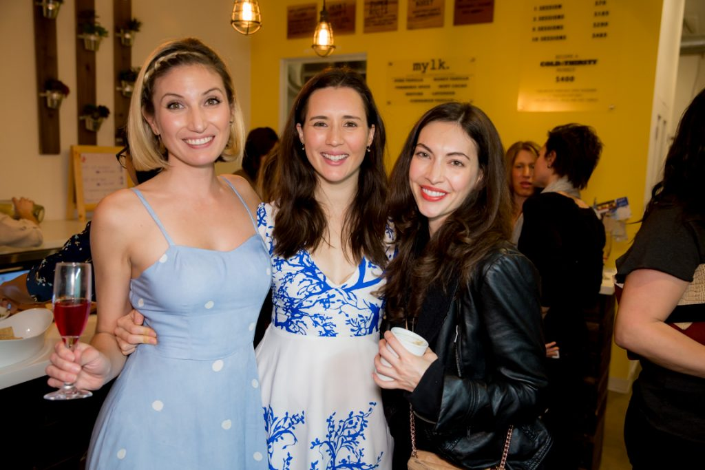 Leslie Durso, Whitney and Eva Bloomfield at clover cloth ReNew Party