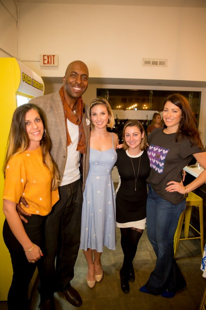 Tina Tangalakis, John Salley, Leslie Durso, Annabel Acton and Alana Littler clover cloth ReNew Party